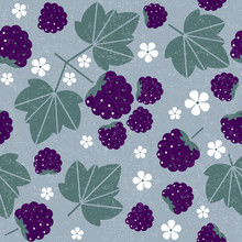 Blackberry Seamless Pattern. Blackberries With Leaves And Flowers On Shabby Background. Original Simple Flat Illustration. Shabby Style.
