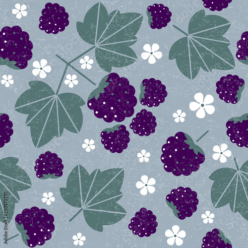 Blackberry seamless pattern. Blackberries with leaves and flowers on shabby background. Original simple flat illustration. Shabby style. - fototapety na wymiar