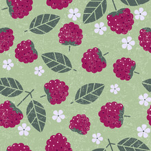 Raspberry Seamless Pattern. Raspberries With Leaves And Flowers On Shabby Background. Original Simple Flat Illustration. Shabby Style.