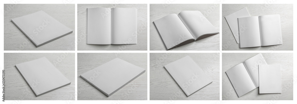 Fototapety, obrazy: Set of blank brochures on light wooden background. Mock up for design