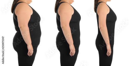 Fotografia, Obraz  Overweight woman on white background, closeup view