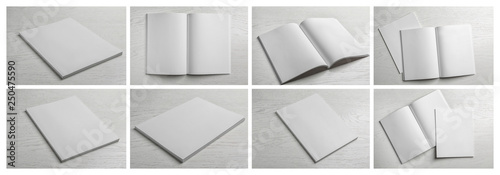 Carta da parati  Set of blank brochures on light wooden background