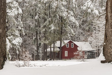 Red House In Snow Surrounded B...