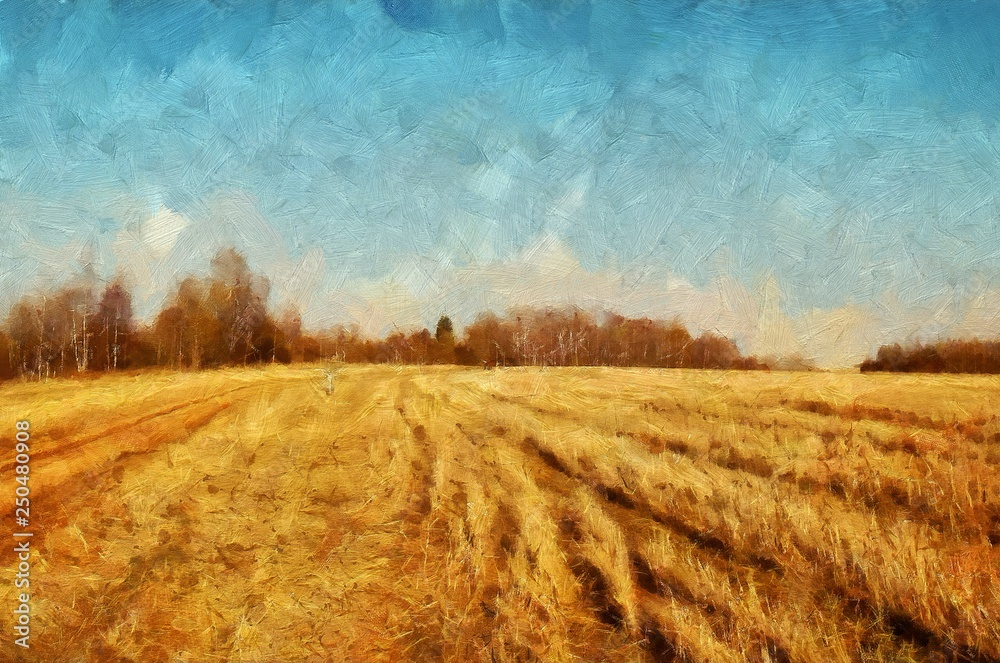 Fototapety, obrazy: Impressionism oil painting on canvas nature landscape motifs wall art print. Countryside beauty. Village. Contemporary artwork for creating poster, stationery, postcard. Watercolor fine modern drawing