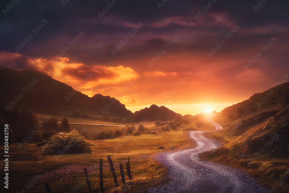 Fototapety, obrazy: landscape background with path in Urkiola at sunset