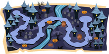 Halloween 2D Games Maps With Path Of Stage Levels And Purple Land Castle, Graveyard, River, Pumpkins With Scary Tree For Cartoon Vector Illustration