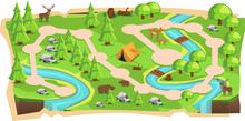 Forest Jungle 2D Game Maps With Path And Soft Green Land With Bear, Mouse Deer, Tent, Rivers, Stone And Trees For Platform Vector Illustration