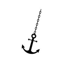 Anchor Chain, Ship Anchor Or Boat Anchor Flat Icon