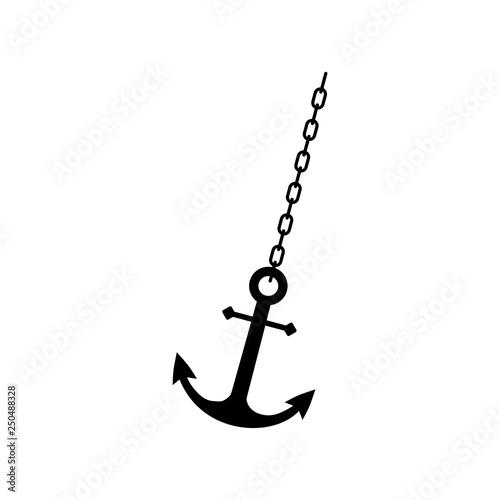 Fotografia Anchor chain, Ship anchor or boat anchor flat icon