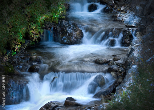 waterfall, cascade, mountain waterfall, water, stream, moving, blurred water, movement, nature