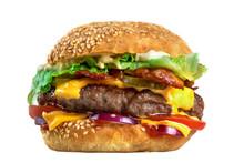 Homemade Tasty Burger Isolated On White Background Close-up