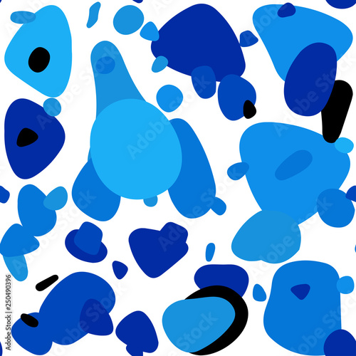 Light BLUE vector seamless pattern with spheres.