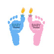 Baby foot prints. Baby girl baby boy with candle light. Twin baby symbol. Baby gender reveal. Baby shower greeting card