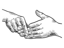 Finger Separation Trick Sketch Engraving Vector Illustration. Scratch Board Style Imitation. Black And White Hand Drawn Image.
