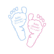 Baby Shower Greeting Card. Baby Foot Prints. Blue Colored And Pink Colored Foot Prints With ''Baby Shower'' Text