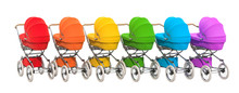 Row From Colored Baby Stroller...