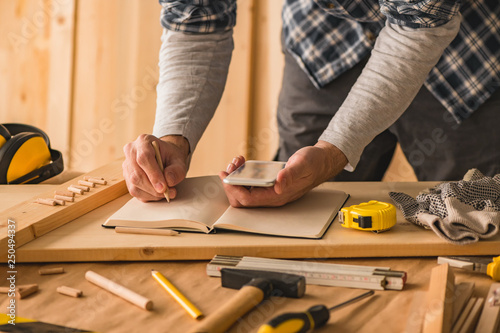 Photo Stands Stairs Carpenter making project calculation using smartphone app