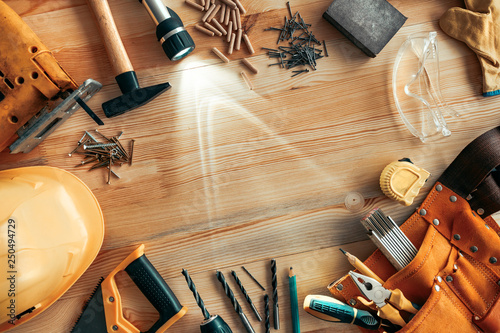Poster Fleur Carpenter woodwork workshop desk top view copy space