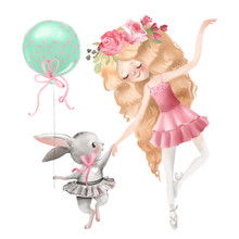 Cute Ballerina, Ballet Girl With Flowers, Floral Wreath And Baby Bunny In A Ballet Dress With Balloon