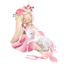 Cute Ballerina, Ballet Girl With Flowers, Floral Wreath And Baby Unicorn