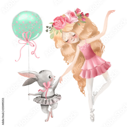 Fotografie, Tablou Cute ballerina, ballet girl with flowers, floral wreath and baby bunny in a ball