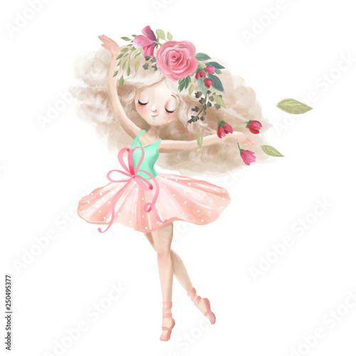 Vászonkép Cute ballerina, ballet girl with flowers, floral wreath