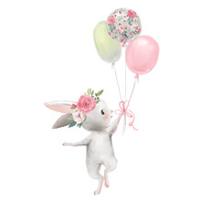 Cute Girl Baby Bunny With Flowers, Floral Wreath With Balloons