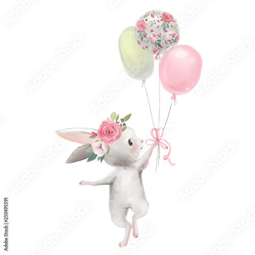 Stampa su Tela Cute girl baby bunny with flowers, floral wreath with balloons