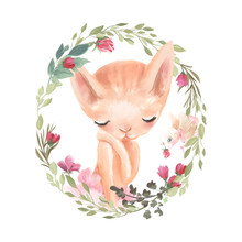 Cute Girl Baby Kitten, Cat With Flowers, In A Floral Wreath, Frame