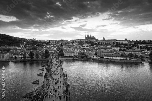Photo  Prague historical center with the castle,Hradcany, Charles bridge and Vltava riv