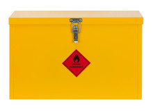 LOCKED YELLOW STEEL CABINET WI...