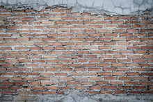Unfinished Brick Wall Plastering Background With Copy Space. Under Plastering Brick Wall Texture As A Creative Background.