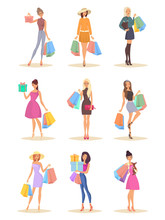 Set Of Isolated Women With Bag...
