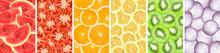 Collection Background Of Sliced Orange, Watermelon, Kiwi, Lemon, Onion And Tomato Closeup
