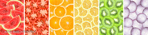 Poster Cuisine Collection background of sliced orange, watermelon, kiwi, lemon, onion and tomato closeup