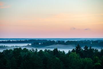 kolorowy wschód słońca zachód słońca w mgliste lato łąka