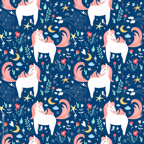 Cute cartoon hand drawn modern patten with unicorns with floral elements. Fantasy sketch for wrapping paper, textile.
