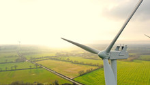 Aerial Photo Of Wind Turbines At Sunset In Sainte Pazanne, France
