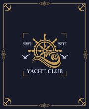 Yacht Club Label Isolated On D...