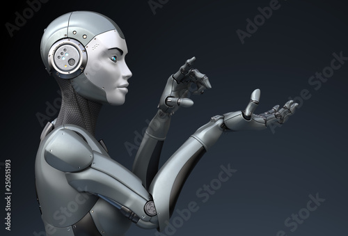 Photo Robot is looking at something in his hand