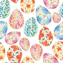 Seamless Easter Pattern Of Col...
