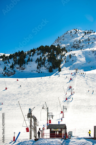 Spoed Foto op Canvas Antarctica The winter view on ski resort Candanchu, Spain covered by snow in the Pyrenees montains.
