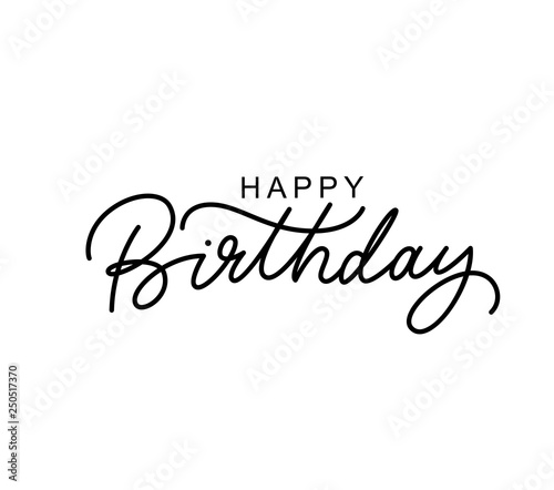 Photo Happy Birthday hand drawn black lettering