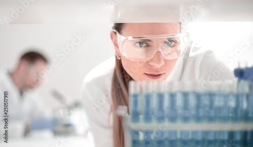 close up.scientist doing research in clinical laboratory. Canvas Print