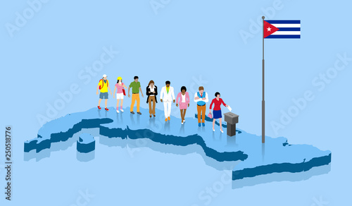 Cuban citizens are voting for election over a Cuba map Canvas Print
