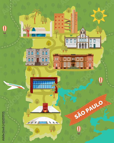 Valokuva  Sao Paulo map with famous landmarks. Brazil places