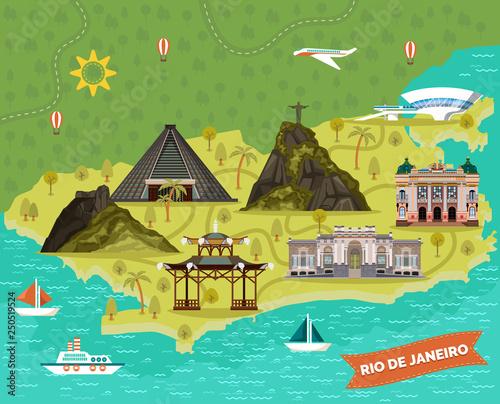 Rio de Janeiro, Brazil city map with landmarks Wallpaper Mural
