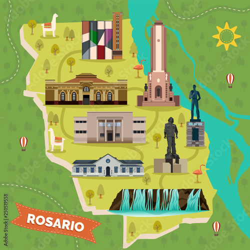 Sightseeing landmarks map of Rosario in Argentina Canvas Print