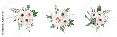 Vector floral bouquet design anemone, Eucalyptus branch Wallpaper Mural
