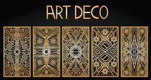 Golden Abstract Geometric Background. Art Deco Style, Trendy Vintage Design Element. Gold Grille On A Black Background. Gold Art Deco Panels. Gatsby Style. Set Retro Pattern